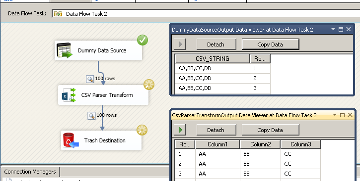 SSIS CSV Parser Transform – Split database CSV column string