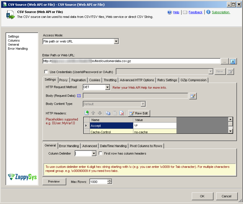 SSIS CSV File Source – Read from Web API Options