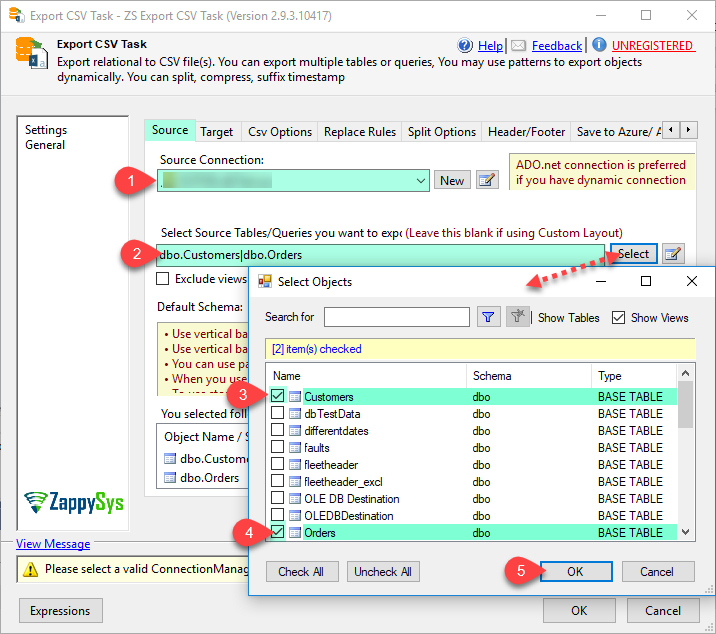 SSIS Export to CSV File Task - Generate CSV files for selected tables/views
