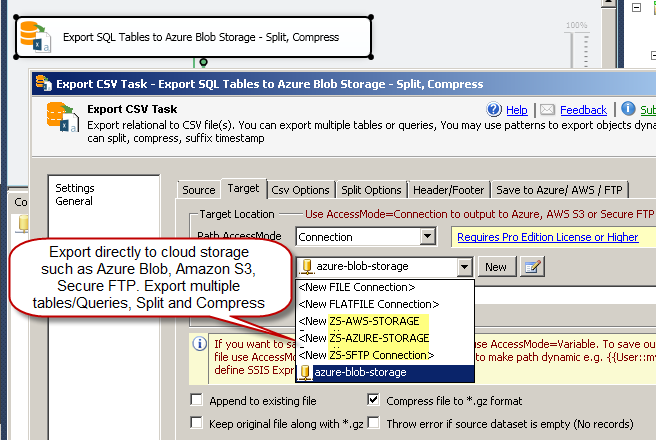 SSIS Export CSV File Task - Export to Azure Bob Storage, SFTP (Dynamically Export Multiple tables, Split, Compress GZip)