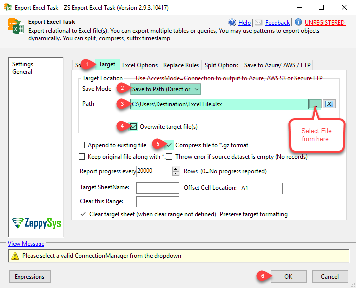 SSIS Export Excel File Task - Select Target Path and other options