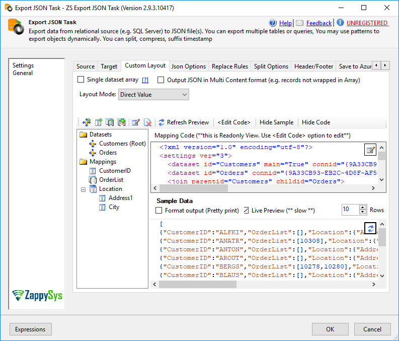 SSIS Export JSON File Task - Layout editor for nested JSON elements