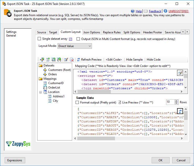 SSIS Export JSON File Task - SQL to JSON File / Azure / S3 | ZappySys