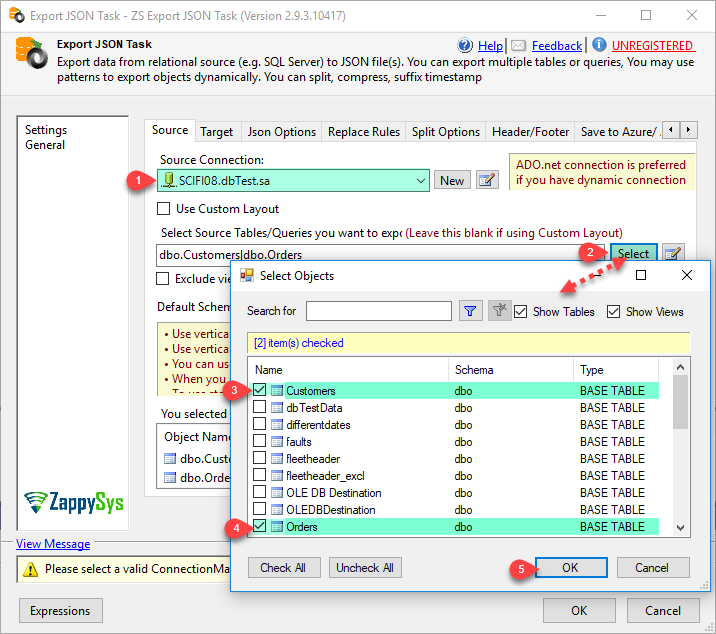 SSIS Generate JSON File Task - Generate JSON files for selected tables/views