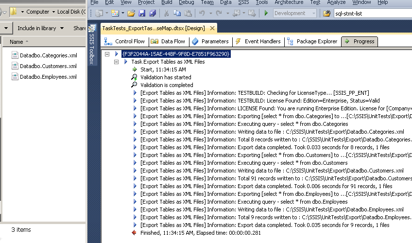 SSIS ExportXML File Task - Execution Log