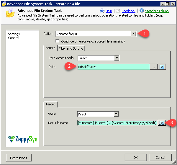 SSIS Rename Multiple files (Use wildcard pattern) - Advanced SSIS File System Task