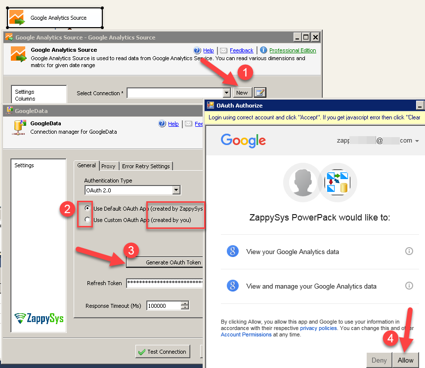 Google Data Connection UI - Access Google Analytics data using OAuth 2.0 authentication protocol