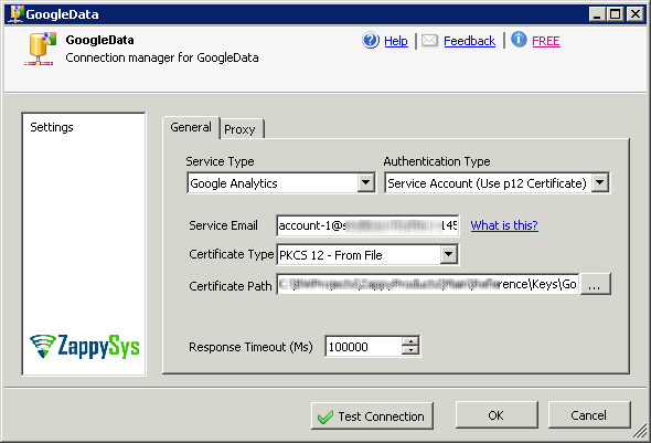SSIS Google Web Analytics Connector - Access data using service account method (*.P12 Certificate file) - Get data from Google Web Analytics Platform