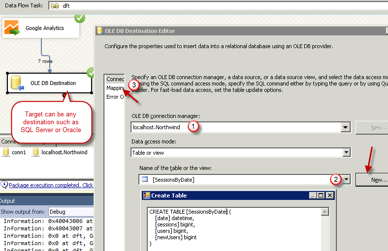 SSIS Package - Get data from Google Analytics and load into SQL Server