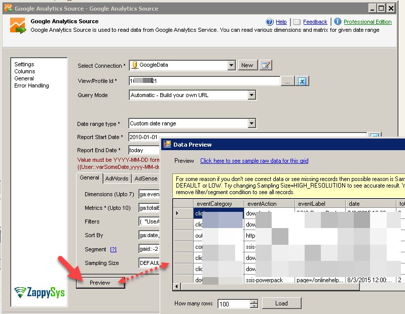 SSIS Google Analytics Connector UI - Predefined Report Preview