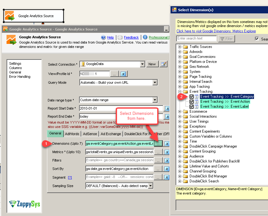 SSIS Google Analytics Connector UI - Select Dimensions