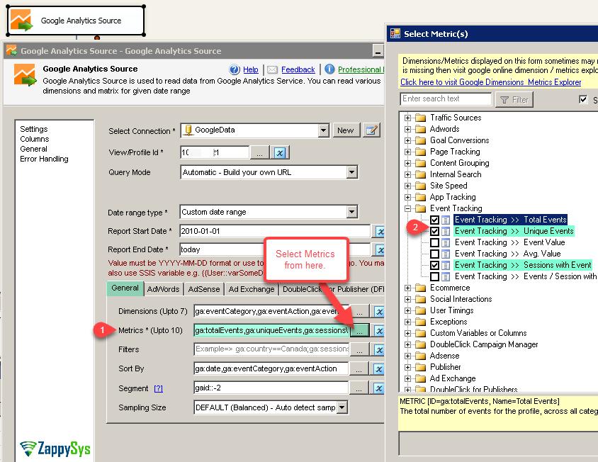 SSIS Google Analytics Connector UI - Select Metrics