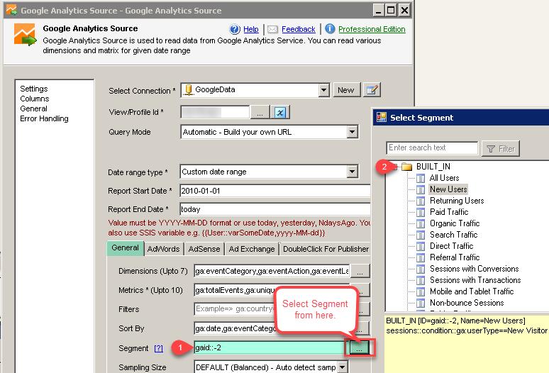 SSIS Google Analytics Connector UI - Select Segment