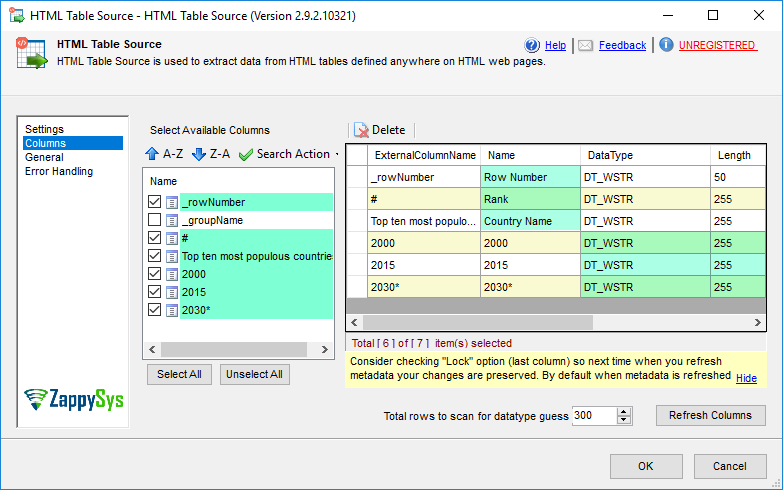 SSIS HTML Table Source - Select Columns