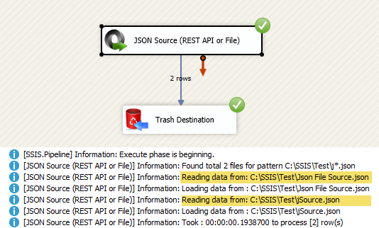 Extract JSON data in SSIS dataflow using JSON Source