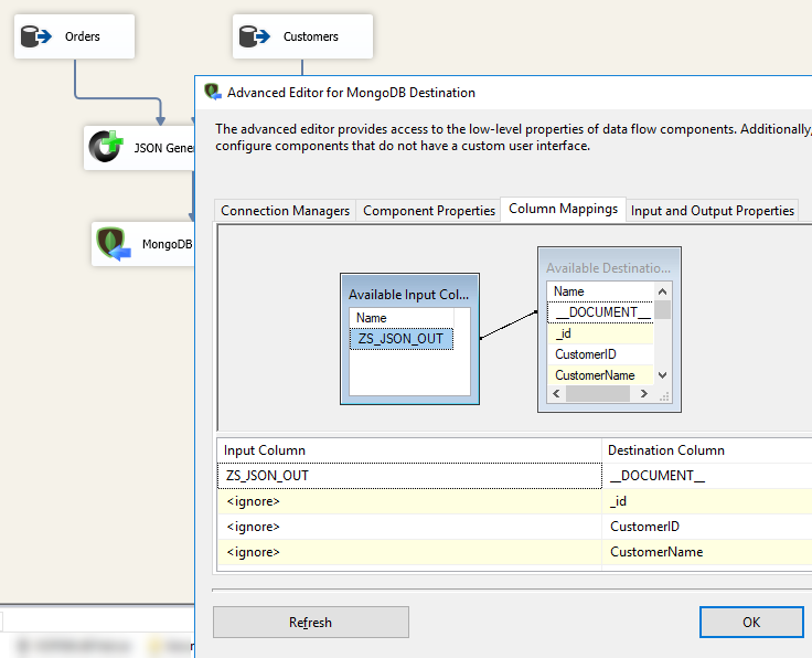 SSIS MongoDB Destination Adapter - Mapping Tab for loading JSON document