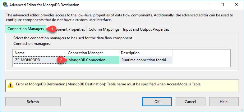 SSIS MongoDB Destination Adapter - Connection Tab