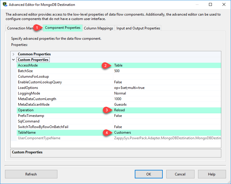 SSIS MongoDB Destination Adapter - Component Tab