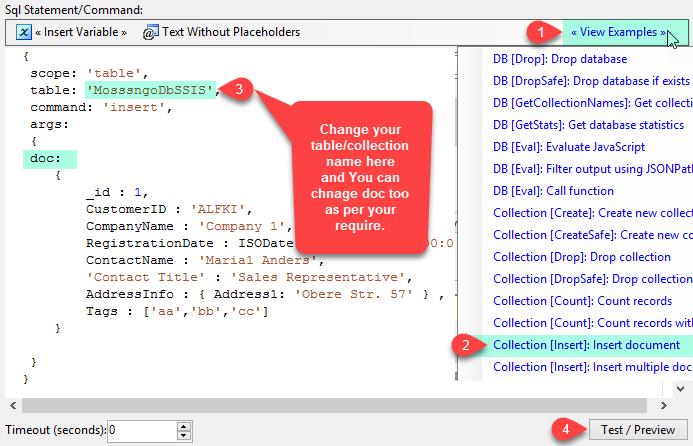 MongoDB execute command - insert JSON document into MongoDB