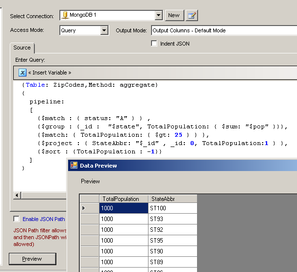 SSIS MongoDB Source - Example of MongoDB Group By Query (Aggregation Framework Pipeline)