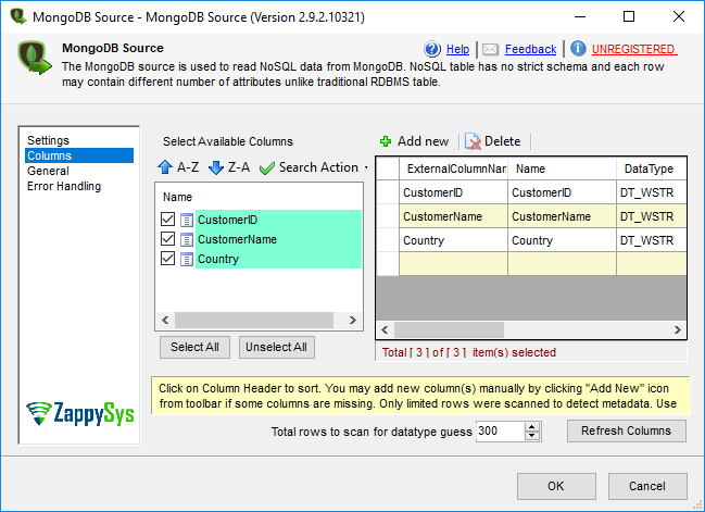 SSIS MongoDB Source Adapter Select Columns