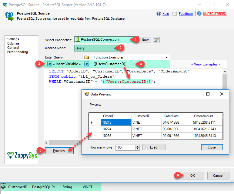 SSIS PostgreSQL Source | ZappySys