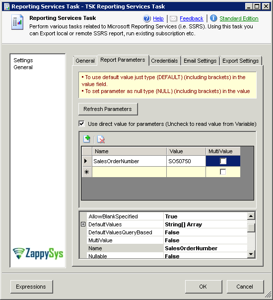 SSIS Reporting Services Task - Parameters screen