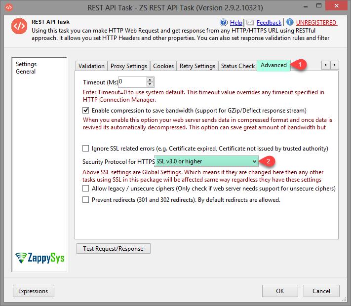 SSIS REST Api Task - Advanced settings (SSL/TLS version, Compression, Timeout)