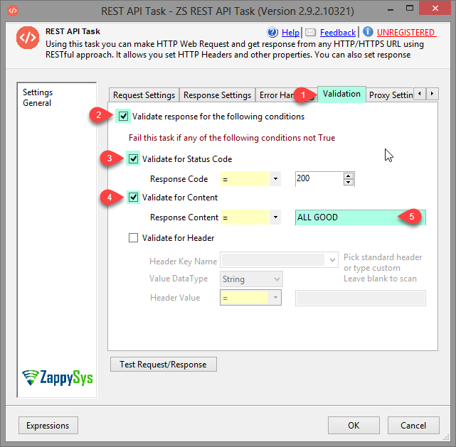 SSIS REST Api Task - Validate Status Code, Content and Header
