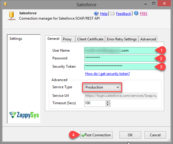 SSIS Salesforce Connection Manager UI (Used with Salesforce Destination, Salesforce Destination, Salesforce API Task, JSON Source and XML Source)