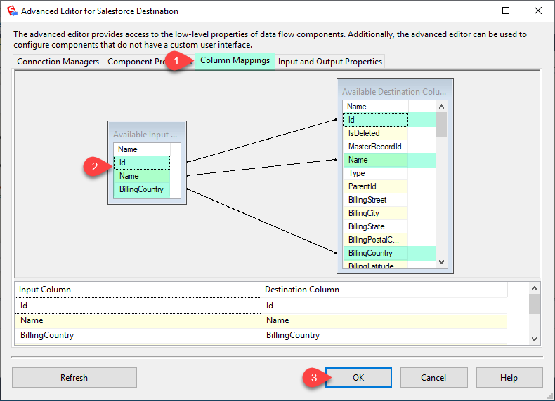 SSIS Salesforce Destination Connector Mappings