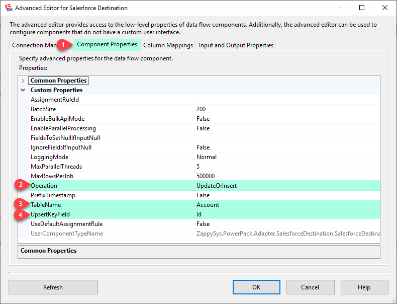 SSIS Salesforce Destination Settings (Bulk Insert, Upsert, Update, Delete)
