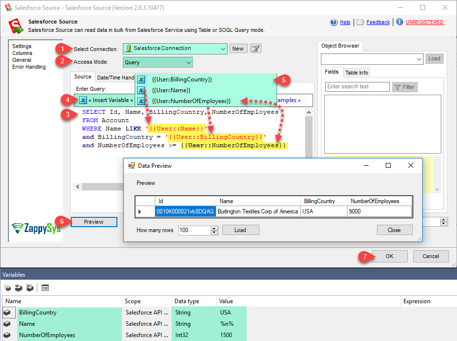 SSIS Salesforce Source - Query mode (query data using SOQL language)