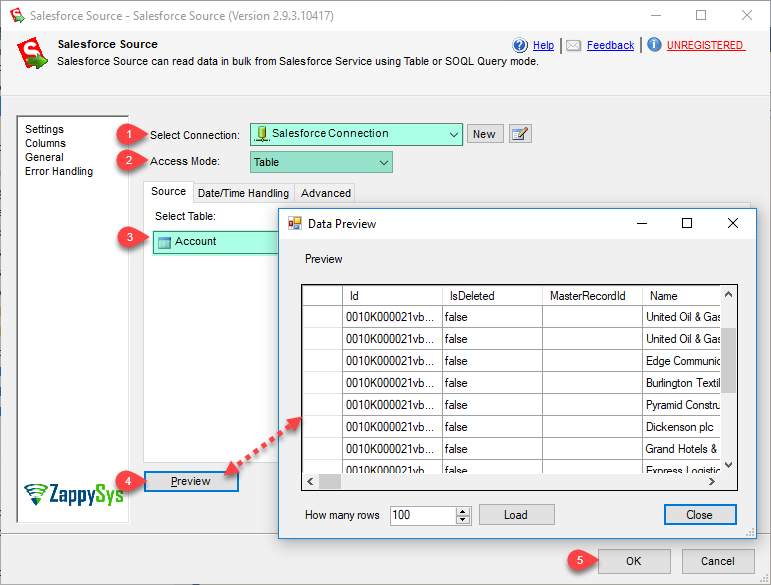 SSIS Salesforce Source - Table mode (get data from Salesforce.com object)
