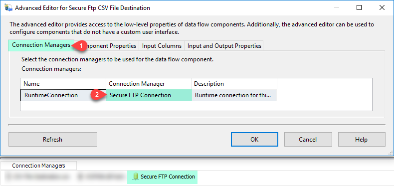 SSIS Secure FTP CSV File Destination – Select Connection Manager