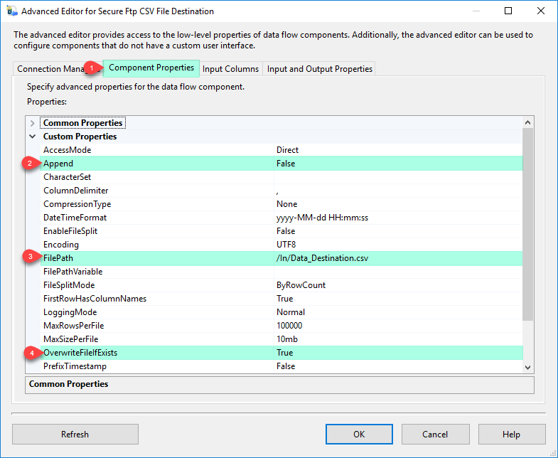 SSIS Secure FTP CSV File Destination – Component Properties