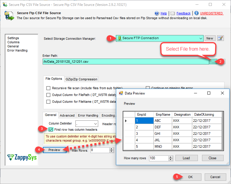 SSIS Secure FTP CSV File Source – Read from CSV File Options