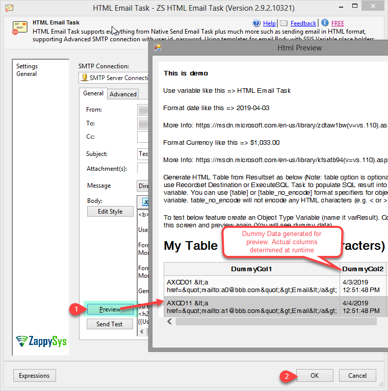 ssis send mail task with html body