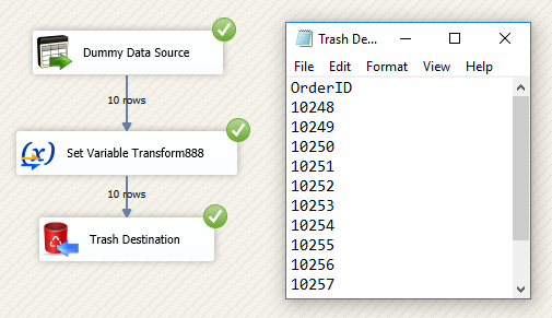 SSIS Set Variable Transform - Run or Execute Package