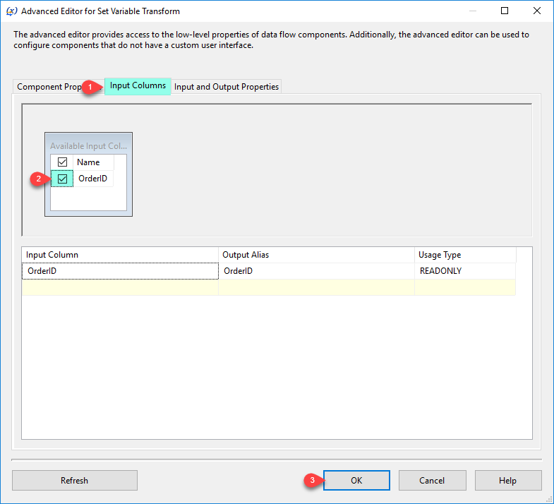 SSIS Set Variable Transform - Input Columns