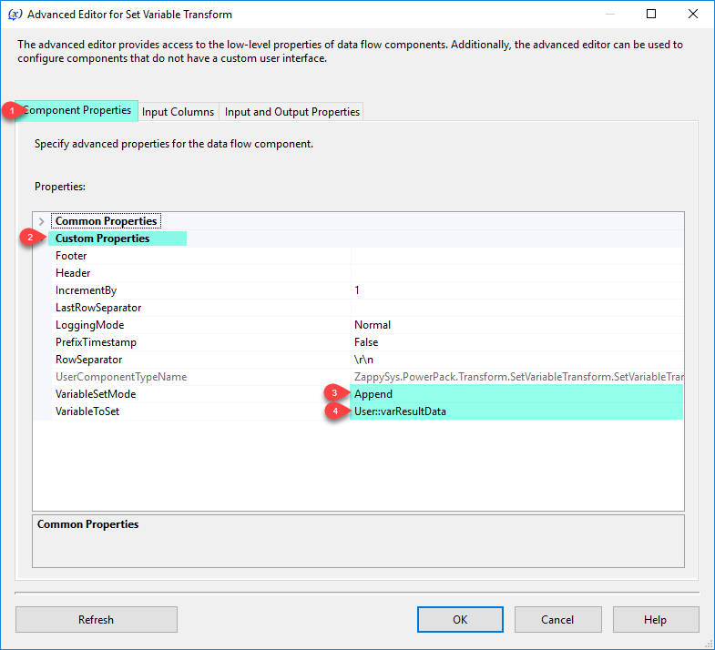 SSIS Set Variable Transform - Component Properties