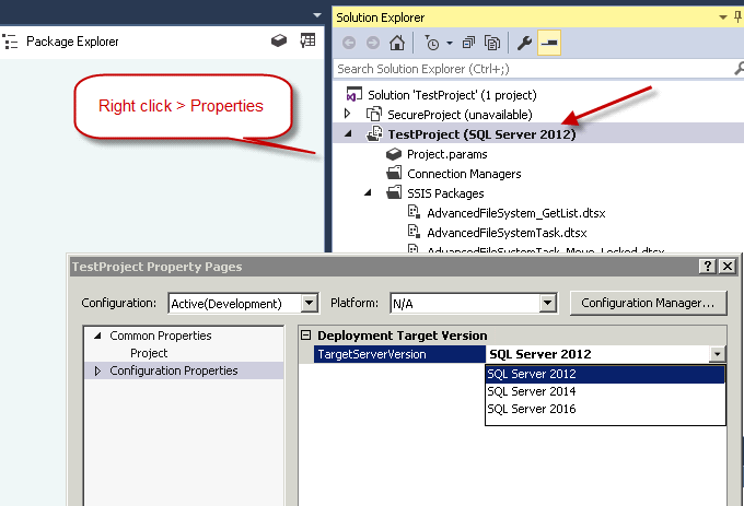 How to change SSIS Package Version in Visual Studio 2015 or
