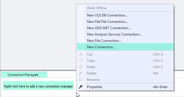 SSIS Create New Connection