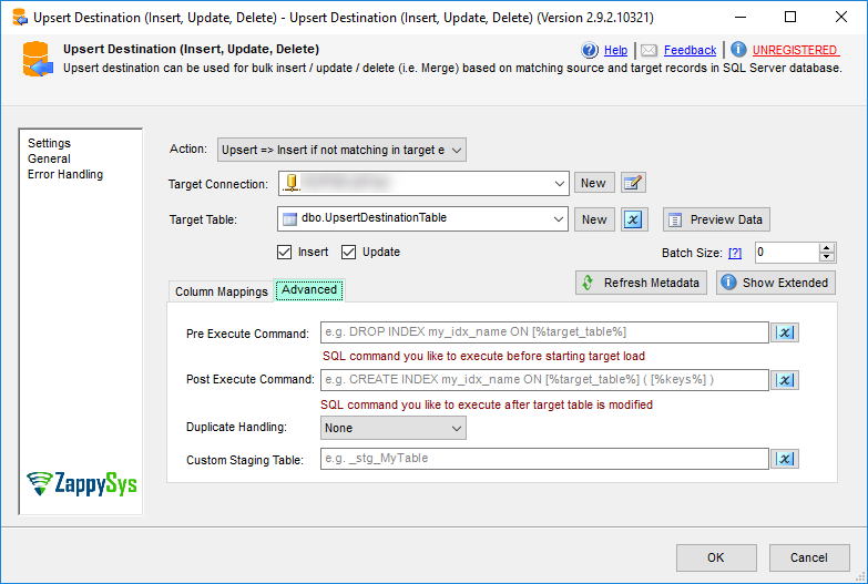 SSIS Upsert Destination – Very fast Bulk Update / Insert and Delete Operations. Merge data from Source to Target.