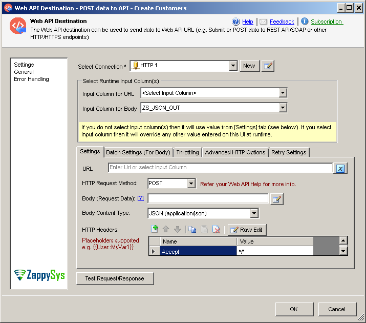SSIS Web API Destination – Configure Web Request Options (Credentials, Input Columns, POST Body, Headers)