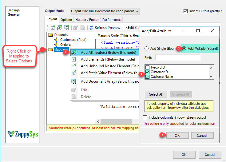 XML Generator Transform - Add/Edit Attribute