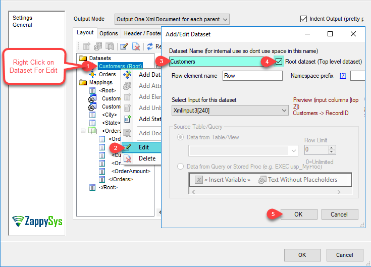 XML Generator Transform - Add/Edit input Dataset