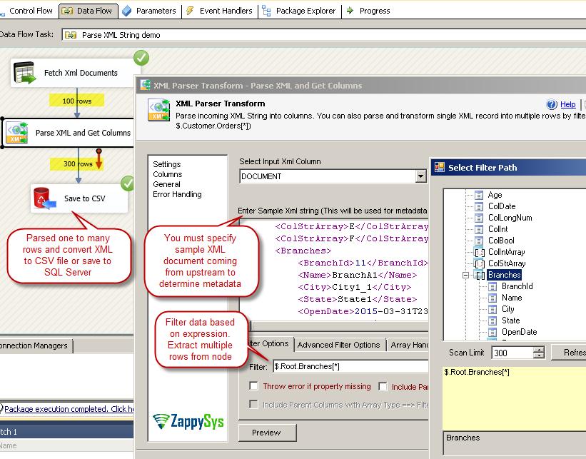 SSIS XML Parser Transform - Parse XMl Document, Convert XML to CSV or save to RDBMS (e.g. SQL Server, MySQL)