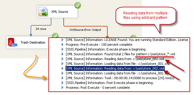 SSIS XML Source - Read data from XML files (Single or Multiple files) - Use wildcard pattern in path