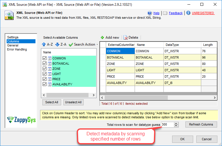SSIS XML Source - Configure Columns and DataType